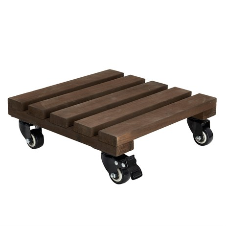 Gardman Wooden Pot Trolley - Square Dark Wood - 30cm (09003)