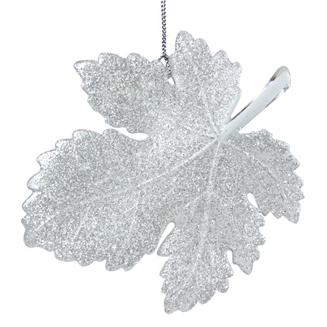 gisela graham christmas iridescent glitter acrylic leaf hanging tree decoration 11577