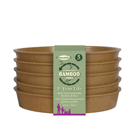 Haxnicks 5 Inch (13cm) Bamboo Biodegradable Saucer (5 Pack) Terracotta (Pot120201)