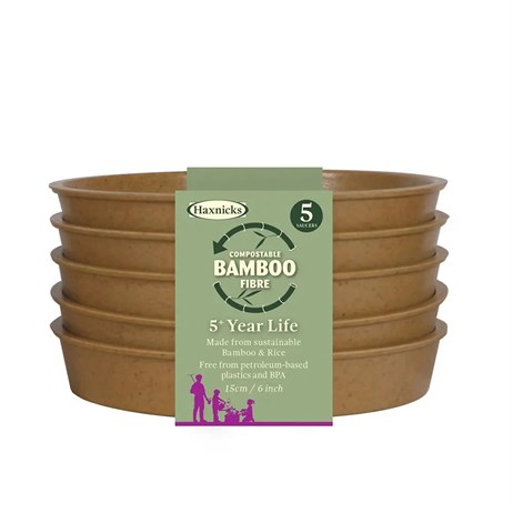 Haxnicks 6 Inch (15cm) Bamboo Biodegradable Saucer (5 Pack) Terracotta (Pot140201)