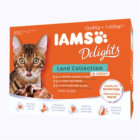Iams Adult Delights Land Collection In Gravy Wet Cat Food Multi-Pack Pouches