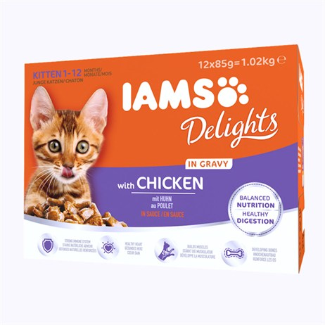 Iams Kitten Delights Chicken in Gravy Wet Cat Food Multi-Pack Pouches