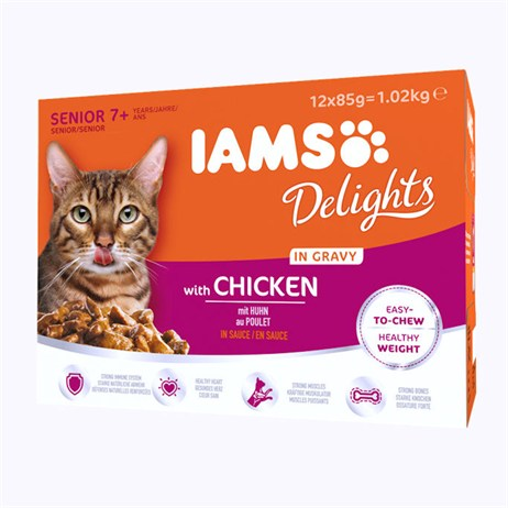 Iams Senior Delight Chicken In Gravy Wet Cat Food Multi-Pack Pouches