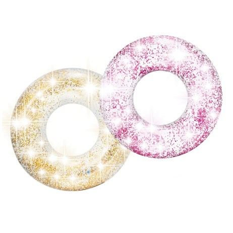 Intex Rubber Ring - Transparent Glitter Tubes - Rose (56274NP)