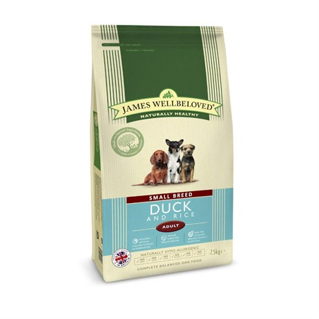 James Wellbeloved Duck & Rice Kibble Dog Food - Adult Small Breed 7.5Kg (6209075)