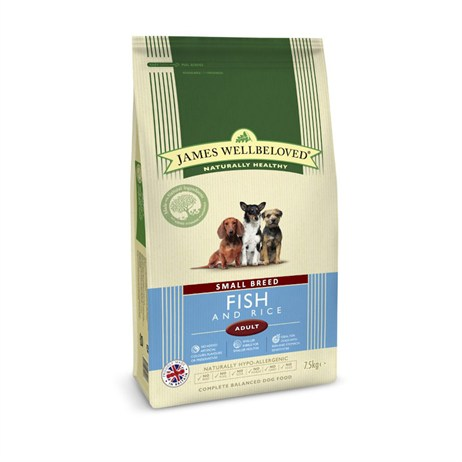 James Wellbeloved Fish & Rice Kibble Dog Food - Adult Small Breed 7.5Kg (6309075)
