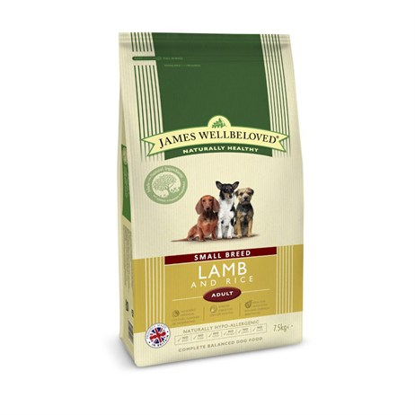 James Wellbeloved Lamb & Rice Kibble Dog Food - Adult Small Breed 7.5Kg (6009075)