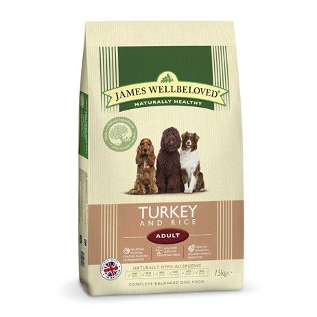 James Wellbeloved Turkey & Rice Kibble Dog Food - Adult Maintenance 7.5Kg (6104075)