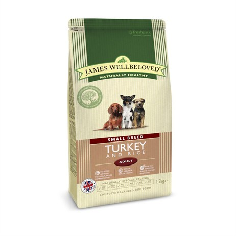 James Wellbeloved Turkey & Rice Kibble Dog Food - Adult Small Breed 1.5Kg (6114016)