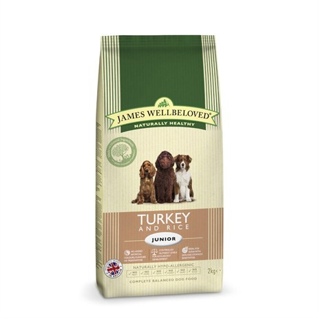 James Wellbeloved Turkey & Rice Kibble Dog Food - Junior 2Kg (6102020)