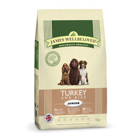 James Wellbeloved Turkey & Rice Kibble Dog Food - Junior 7.5Kg (6102075)