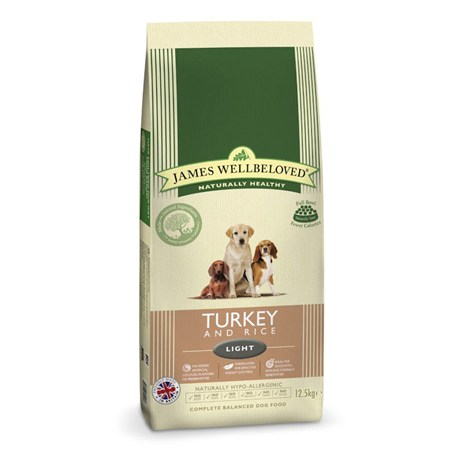 James Wellbeloved Turkey & Rice Kibble Dog Food - Light 12.5Kg (6105125)