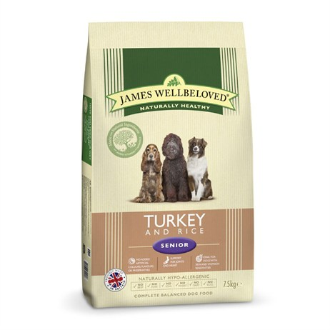 James Wellbeloved Turkey & Rice Kibble Dog Food - Senior 7.5Kg (6106075)
