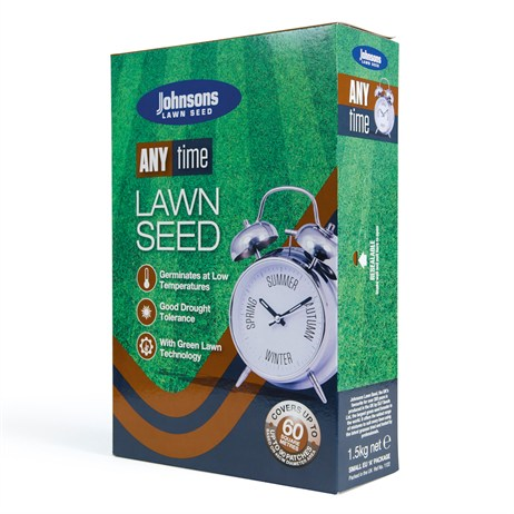 Johnsons Anytime Lawn Grass Seed 1.5kg 60sqm