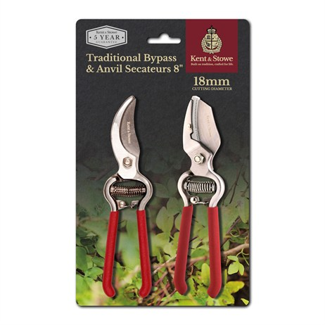 Kent and Stowe Traditional Bypass and Anvil Secateurs (70101500)