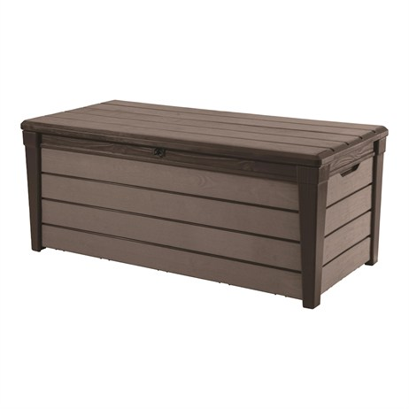 Keter Brushwood 454L Wood-Texture Garden Storage Box - Espresso (17203304)