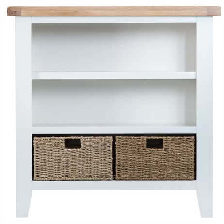 Interior Furniture - Wentworth Small Wide Bookcase White