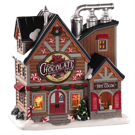 Lemax Christmas Village - For The Love Of Chocolate Shop Battery Operated LED Building (05621)