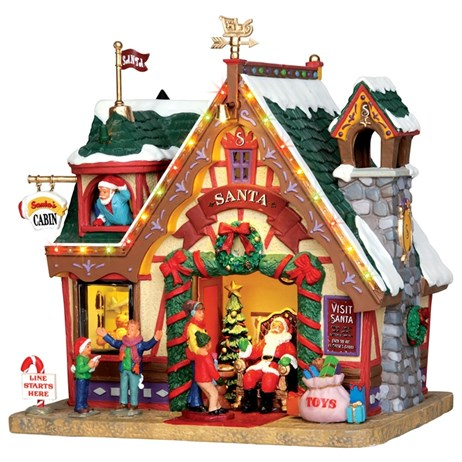 Lemax Christmas Village - Santa's Cabin Building with 4.5V Adapter (35554)