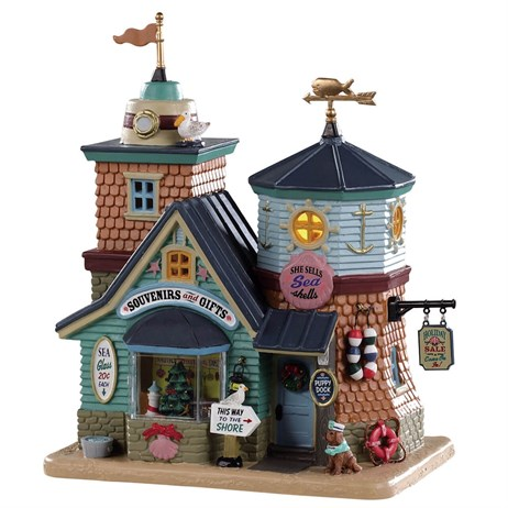 Lemax Christmas Village - She Sells Sea Shells Gift Shop Building - Battery Operated (95483)