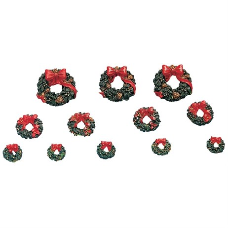 Lemax Christmas Village - Wreaths With Red Bows Accessory - Set of 12 (34957)