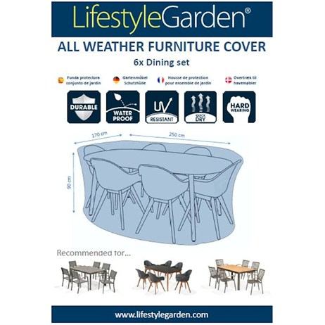 Lifestyle Garden Weather Proof Cover for 6 Seat Dining Cover - 250 x 170cm