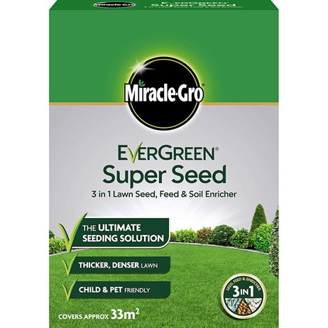 Miracle-Gro Evergreen Super Grass Seed 3 in 1 Lawn Seed, Feed & Soil Enricher 33m2 (119666)