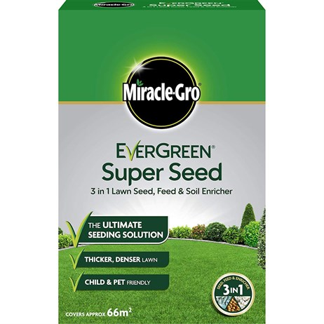Miracle-Gro Evergreen Super Grass Seed 3 in 1 Lawn Seed, Feed & Soil Enricher 66m2 (119668)