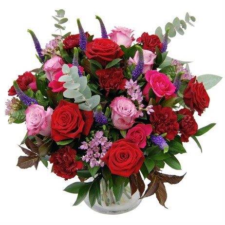 Mother's Day Admiration Red & Pink Rose Floral Hand Tied Bouquet + FREE GIFT