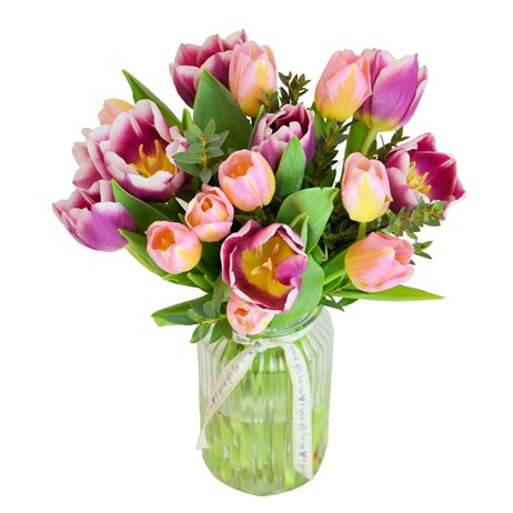 Mother's Day Pretty Mixed Pink Tulip Floral Hand Tied Bouquet Vase + FREE GIFT