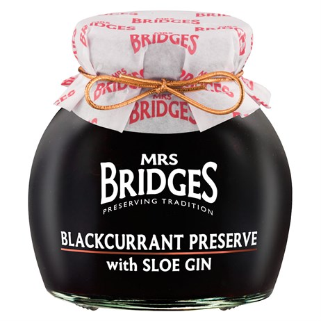 Mrs Bridges Blackcurrant Preserve with Sloe Gin - 340g (MB839)