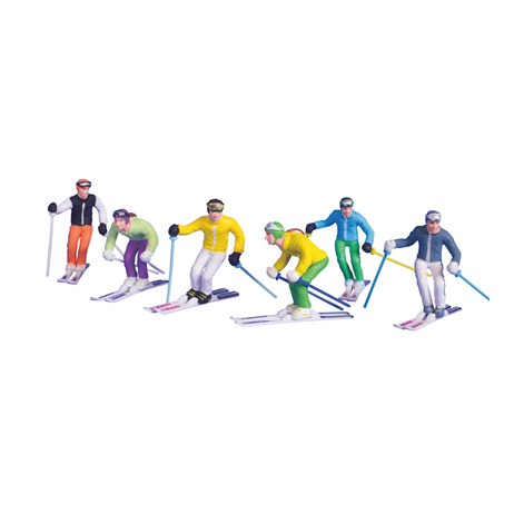 My Village - Christmas Village Accessories Skiing Figurines - Set of 6 (JC54400)
