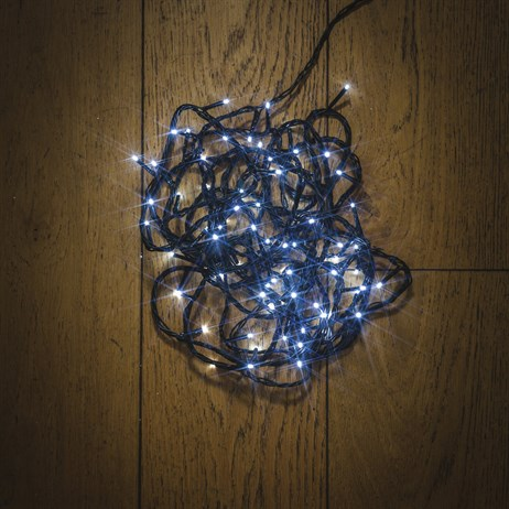 Noma 100 White LED String Christmas Lights with Green Cable (8713GW)