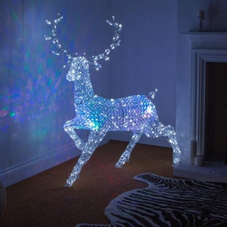 Noma Northern Lights Jewel LED Stag with Multi-Colour Disco Christmas Lights (2517046)