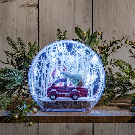 Noma Small White LED Acrylic Diorama - Truck Carrying Tree Battery Operated Christmas Lights (7419303)