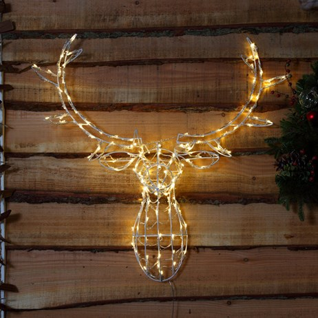 Noma Stag Head with 80 Warm White LED Christmas Lights - 85cm (2515011)