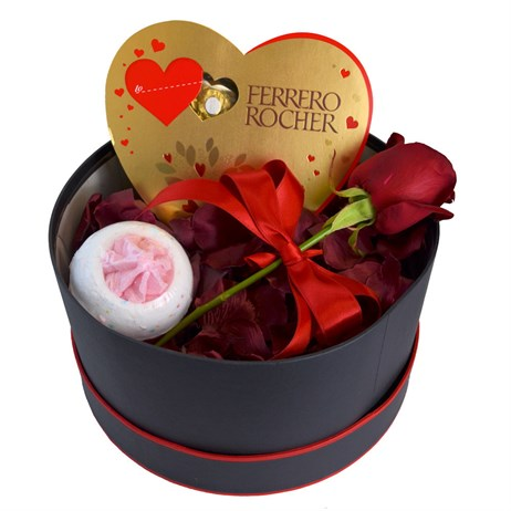 A Single Red Rose Valentine's Day Gift Box With Chocolates, Bath Bomb & Rose Petals