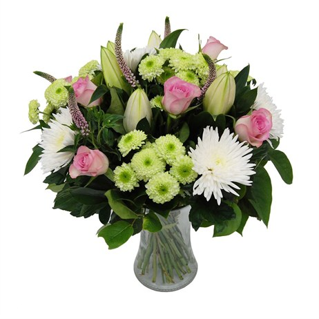Pink, White & Green Mother's Day Flowers Hand Tied Bouquet