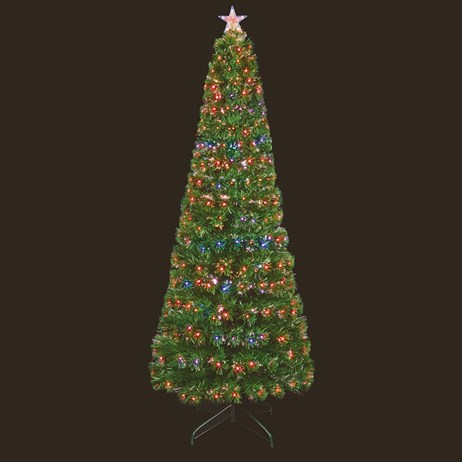 Premier 1.8m Slim Fibre Optic Artificial Christmas Tree With Leds & Light Up Star (FT171072)