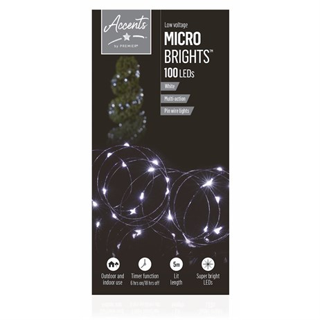 Premier 100 Multi-Action MicroBrights With Timer - White LEDs (LV192198W) Christmas Lights