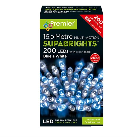 Premier 200 Multi Action LED Supabrights Christmas Lights Blue & White (LV071255BWC)