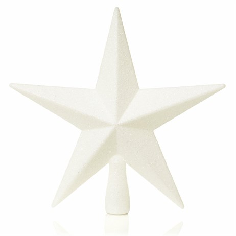 Premier 20cm White Christmas Tree Top Glitter Star (TD126324W)