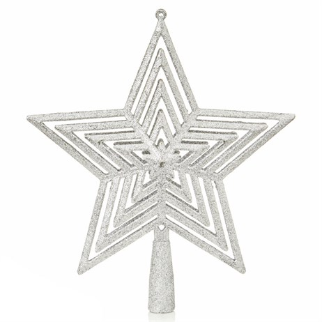 Premier 23cm Glitter Christmas Tree Top - Silver (AC195472)