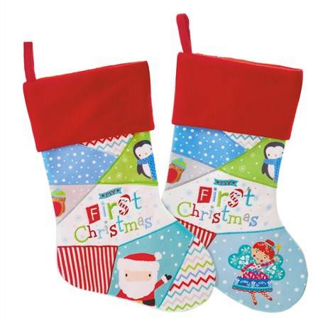 Premier 41cm Pastel Santa My First Christmas Patchwork Stocking (PL185476)