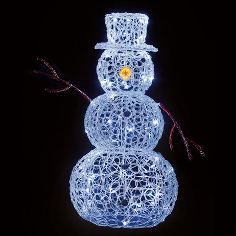 Premier 90cm Lit Soft Acrylic Snowman With 80 White LEDs (LV191182W) Christmas Lights