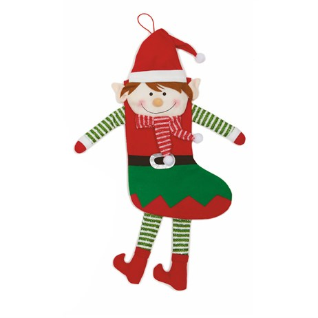 Premier Christmas Stocking 75cm - Elf With Dangling Legs & Arms (PL195059)