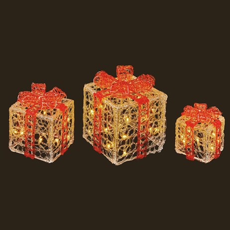 Premier Clear & Red Parcels With Warm White LEDs - Set of 3 (LV191159) Christmas Lights