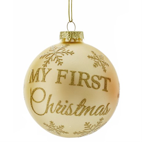Premier My First Christmas Glass Ball Hanging Christmas Tree Decoration - Design 1 (G176377)