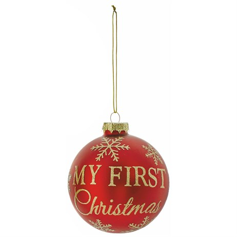 Premier My First Christmas Glass Ball Hanging Christmas Tree Decoration - Design 2 (G176377)