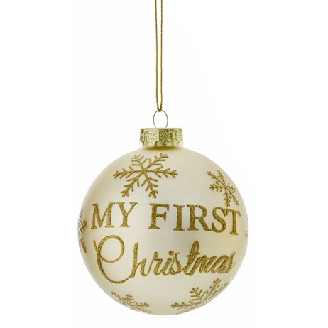 Premier My First Christmas Glass Ball Hanging Christmas Tree Decoration - Design 3 (G176377)